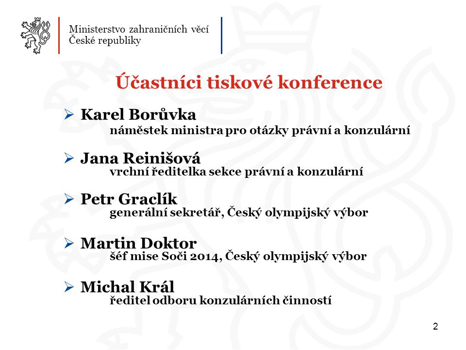 Účastníci tiskové konference