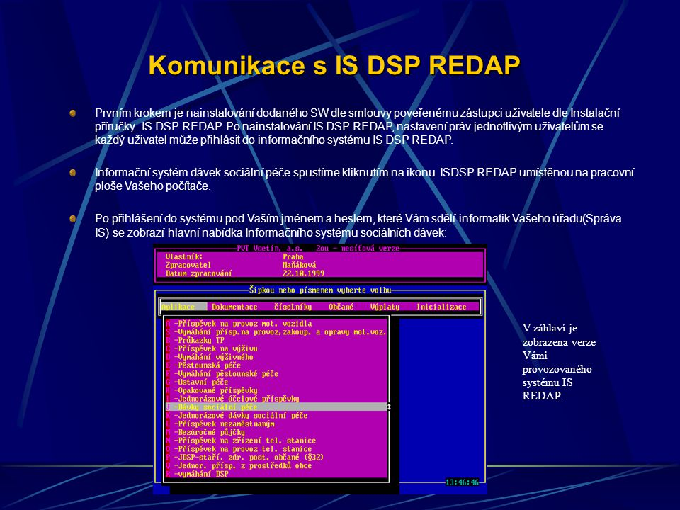 Komunikace s IS DSP REDAP