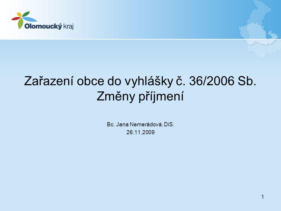 Zařazení obce do vyhlášky č. 36/2006 Sb. Změny příjmení