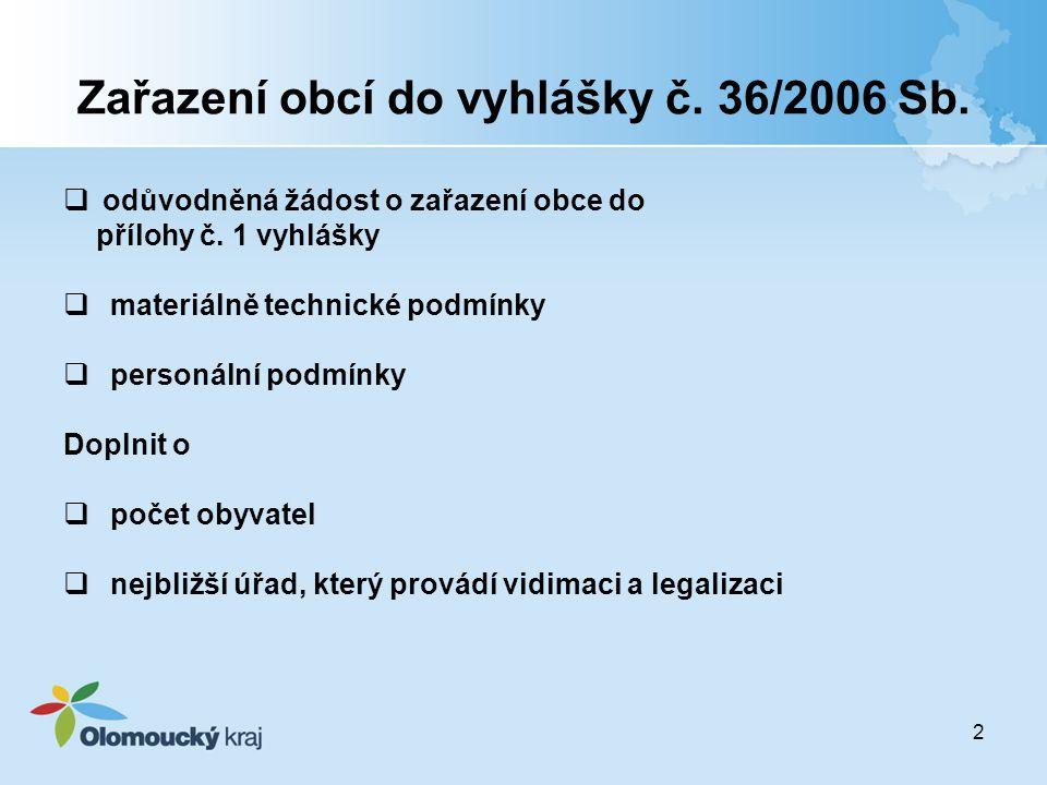 Zařazení obcí do vyhlášky č. 36/2006 Sb.