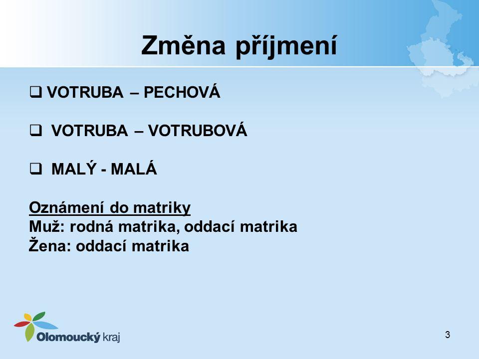 Změna příjmení VOTRUBA – PECHOVÁ VOTRUBA – VOTRUBOVÁ MALÝ - MALÁ