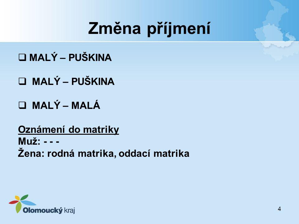Změna příjmení MALÝ – PUŠKINA MALÝ – MALÁ Oznámení do matriky