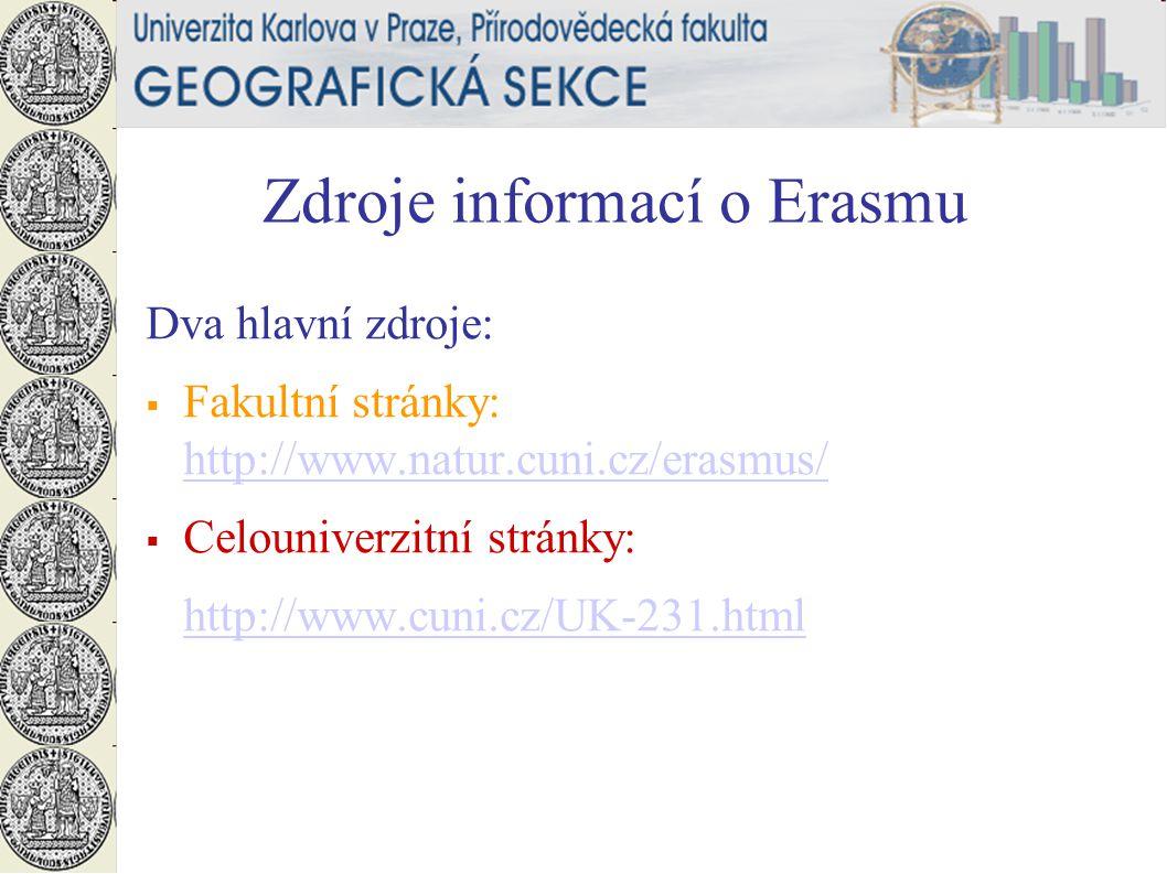 Zdroje informací o Erasmu