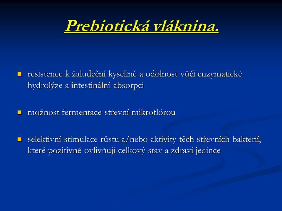 Prebiotická vláknina. resistence k žaludeční kyselině a odolnost vůči enzymatické hydrolýze a intestinální absorpci.