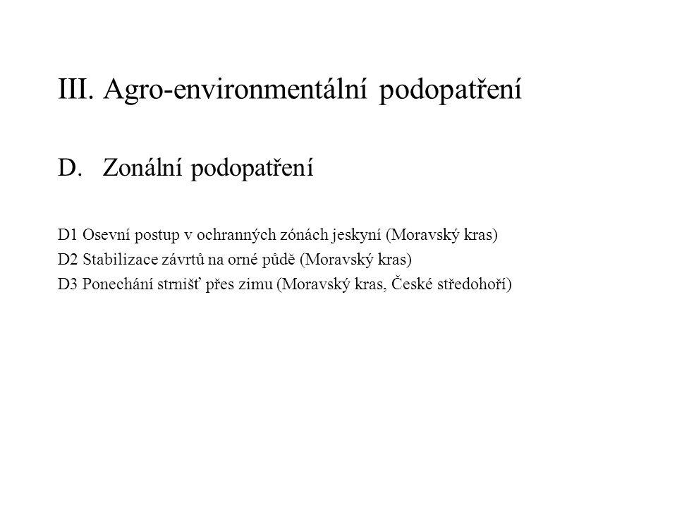 III. Agro-environmentální podopatření