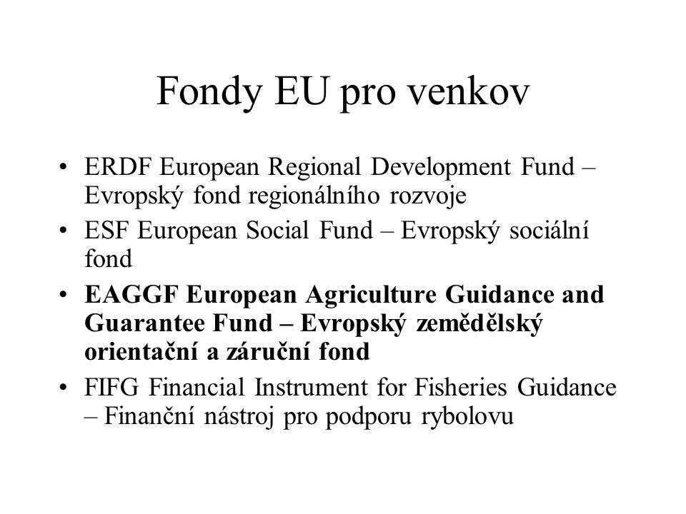 Fondy EU pro venkov ERDF European Regional Development Fund – Evropský fond regionálního rozvoje. ESF European Social Fund – Evropský sociální fond.