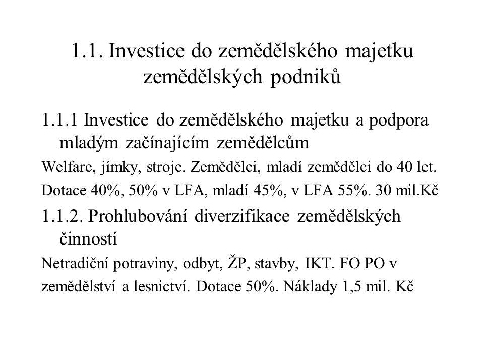1.1. Investice do zemědělského majetku zemědělských podniků