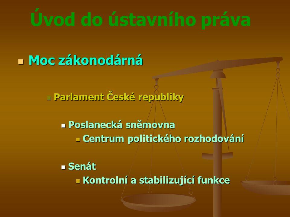 Moc zákonodárná Parlament České republiky Poslanecká sněmovna