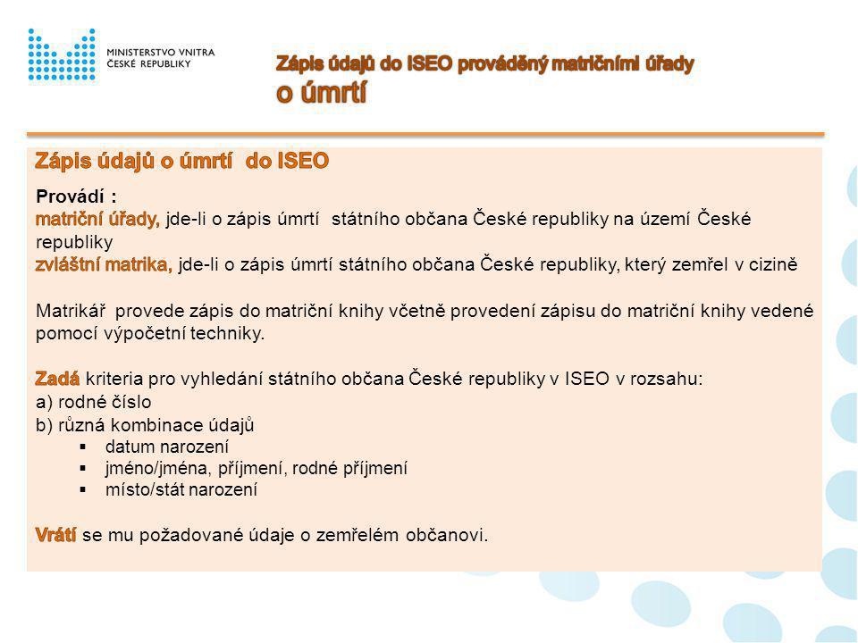 Zápis údajů do ISEO prováděný matričními úřady o úmrtí