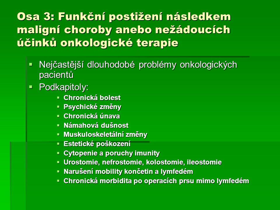 Osa 3: Funkční postižení následkem maligní choroby anebo nežádoucích účinků onkologické terapie