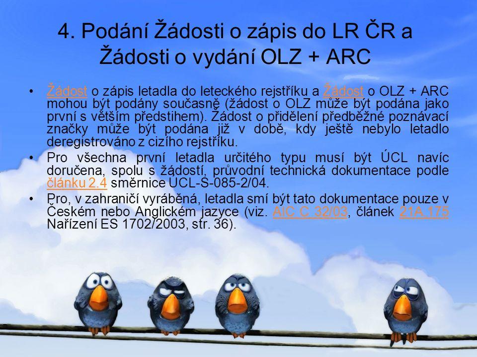 4. Podání Žádosti o zápis do LR ČR a Žádosti o vydání OLZ + ARC