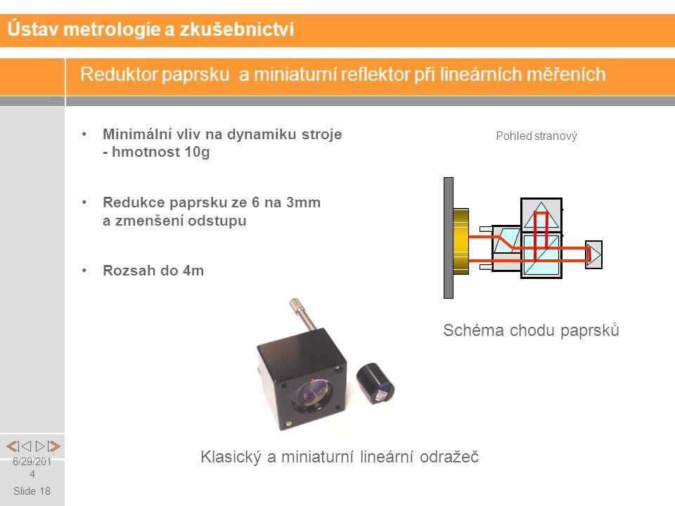 Reduktor paprsku a miniaturní reflektor při lineárních měřeních