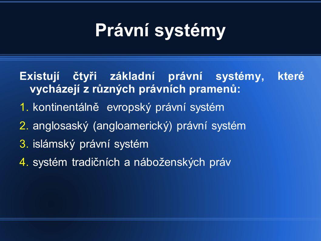 Právní systémy Existují čtyři základní právní systémy, které vycházejí z různých právních pramenů: