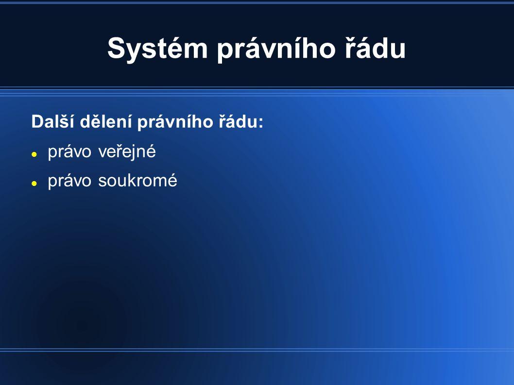 Systém právního řádu Další dělení právního řádu: právo veřejné