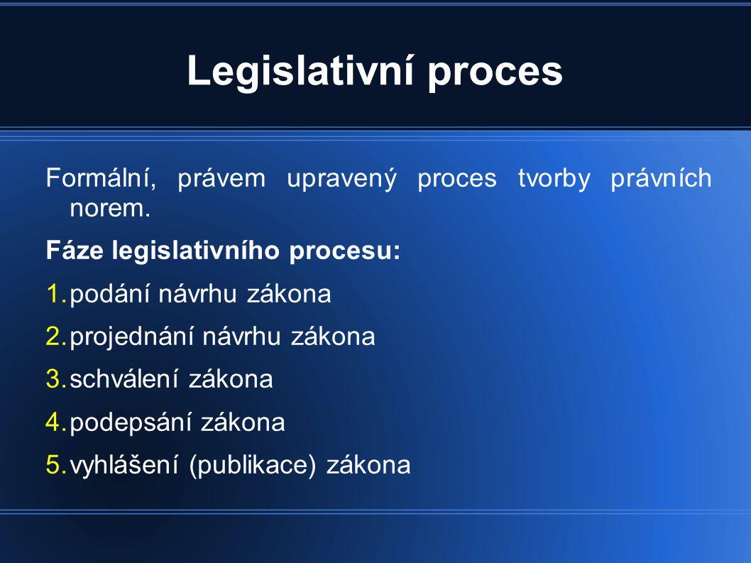 Legislativní proces Formální, právem upravený proces tvorby právních norem. Fáze legislativního procesu: