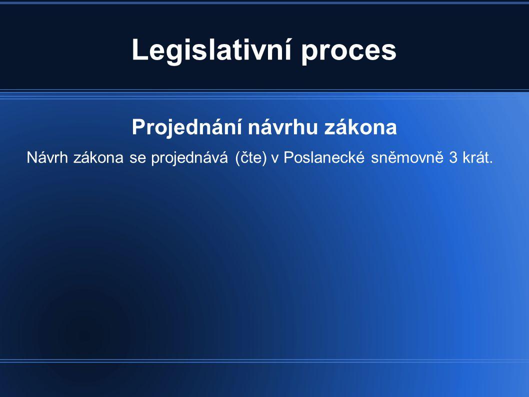 Projednání návrhu zákona
