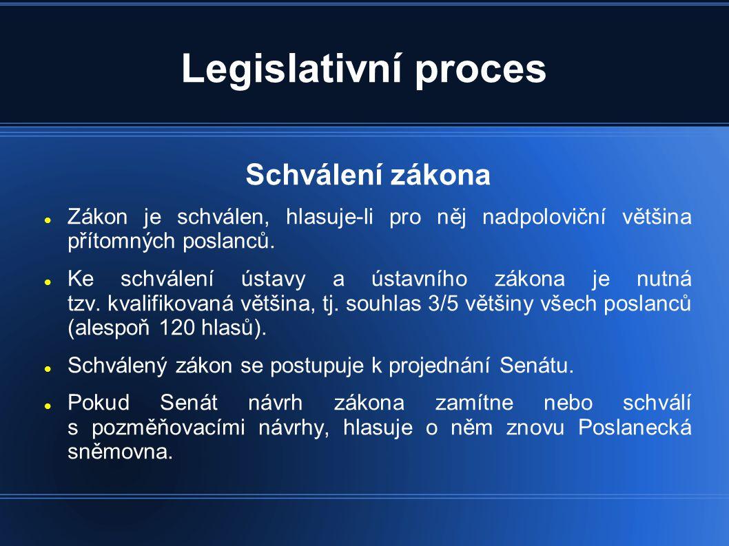 Legislativní proces Schválení zákona