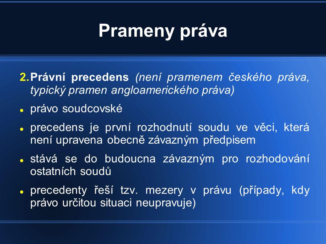 Prameny práva Právní precedens (není pramenem českého práva, typický pramen angloamerického práva)