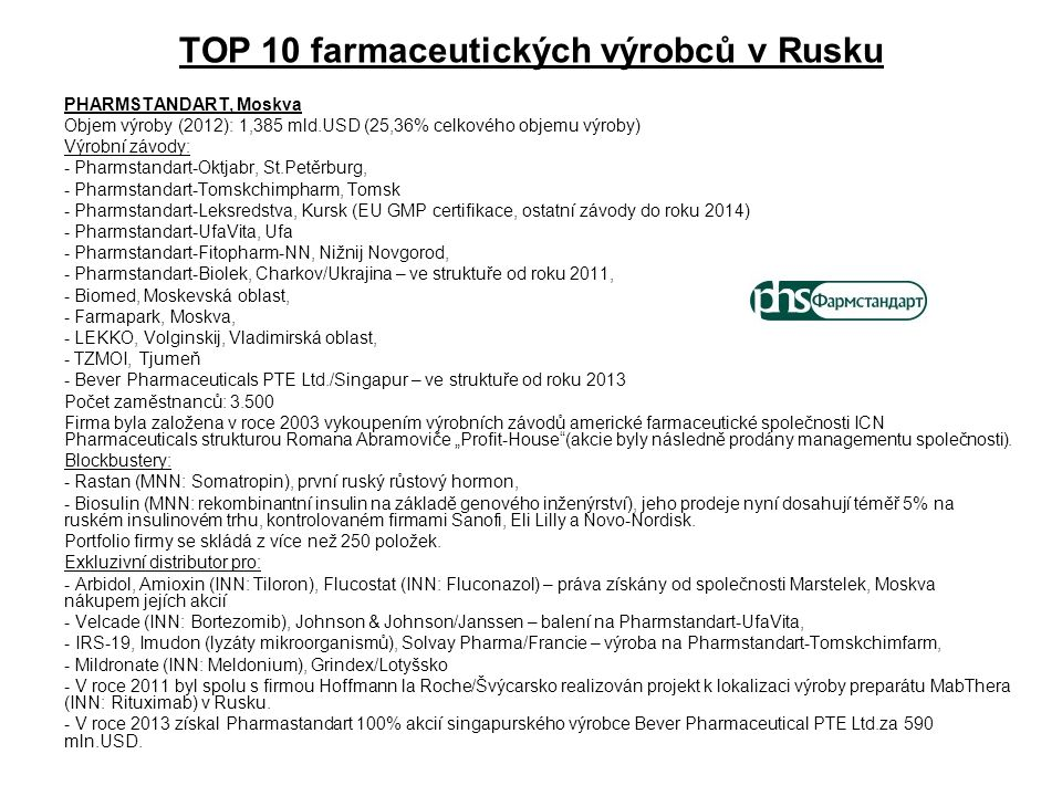 TOP 10 farmaceutických výrobců v Rusku