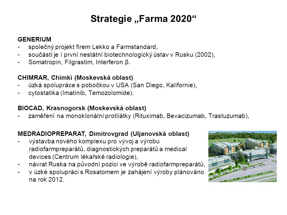 "Strategie ""Farma 2020 GENERIUM"
