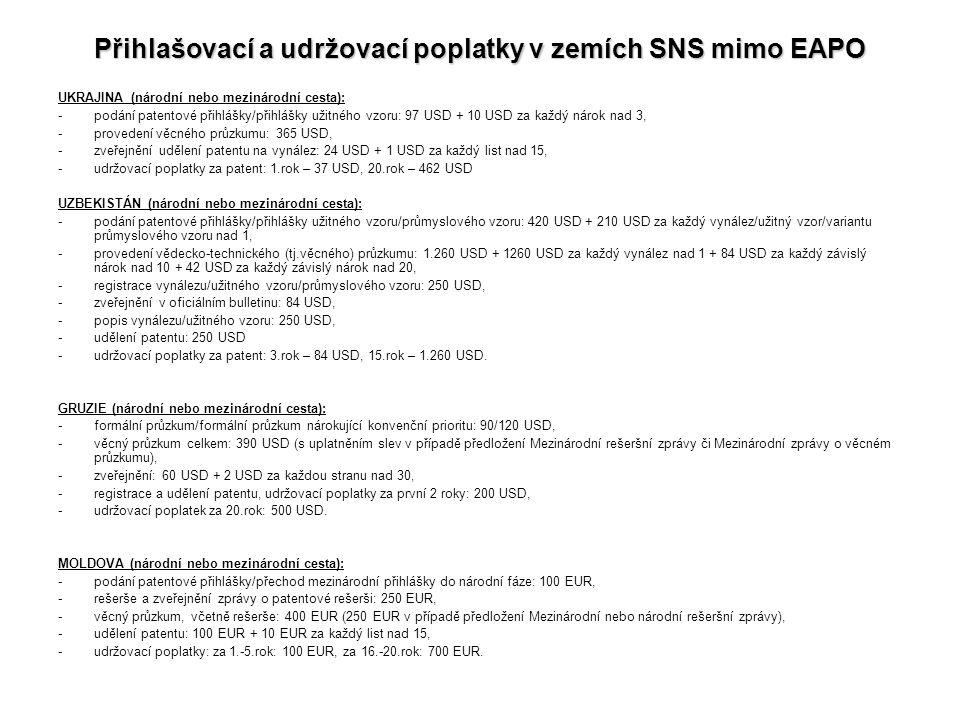 Přihlašovací a udržovací poplatky v zemích SNS mimo EAPO