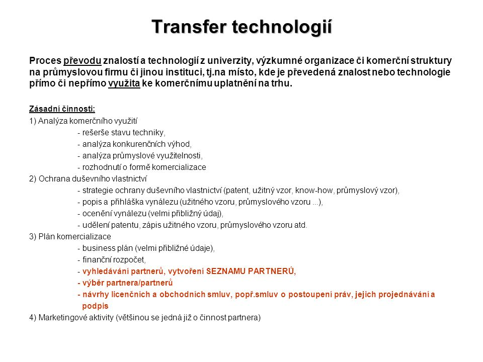 Transfer technologií