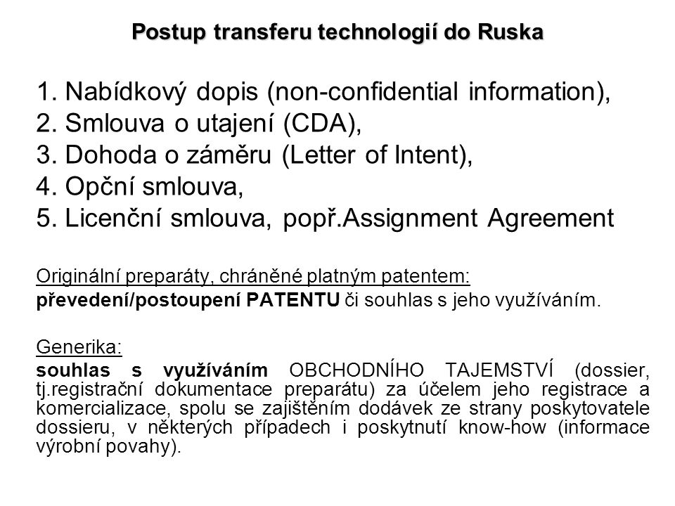 Postup transferu technologií do Ruska