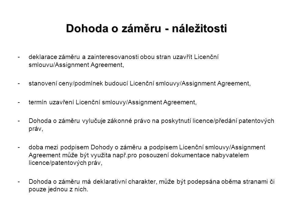 Dohoda o záměru - náležitosti