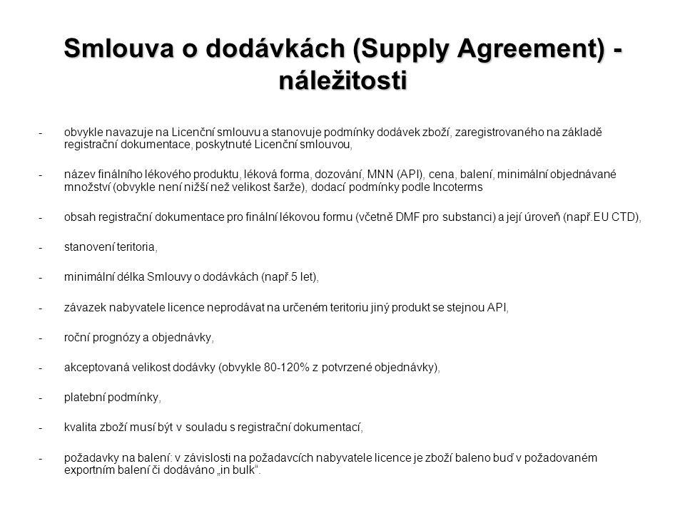 Smlouva o dodávkách (Supply Agreement) - náležitosti