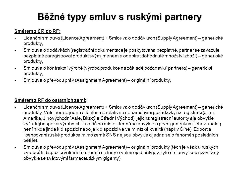 Běžné typy smluv s ruskými partnery