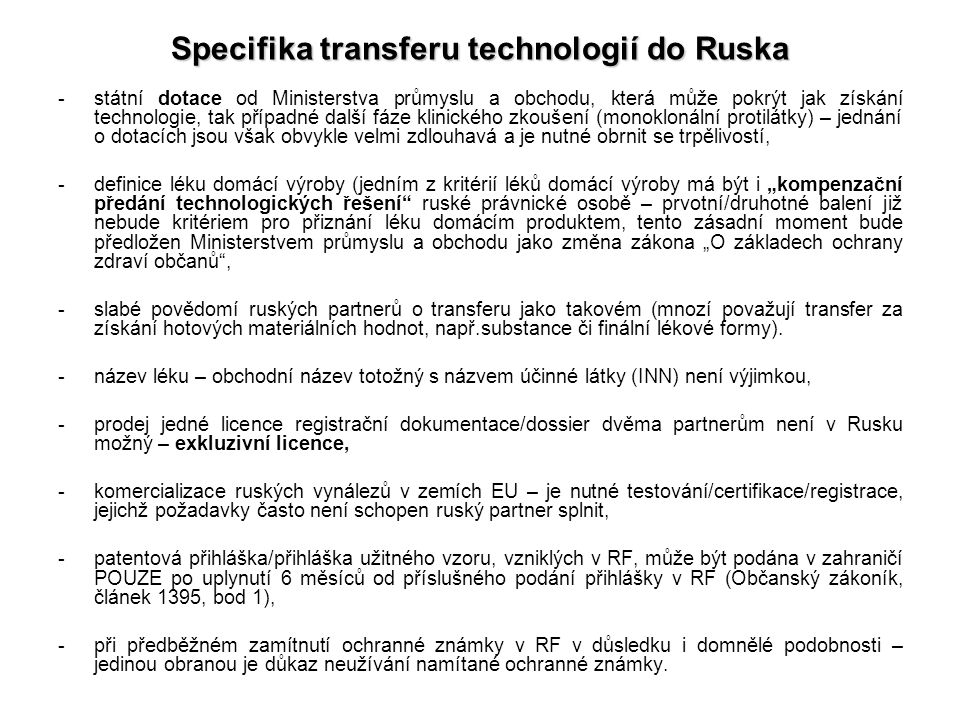 Specifika transferu technologií do Ruska
