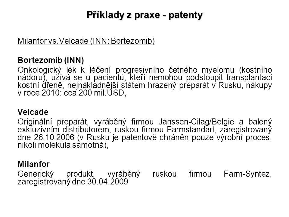Příklady z praxe - patenty