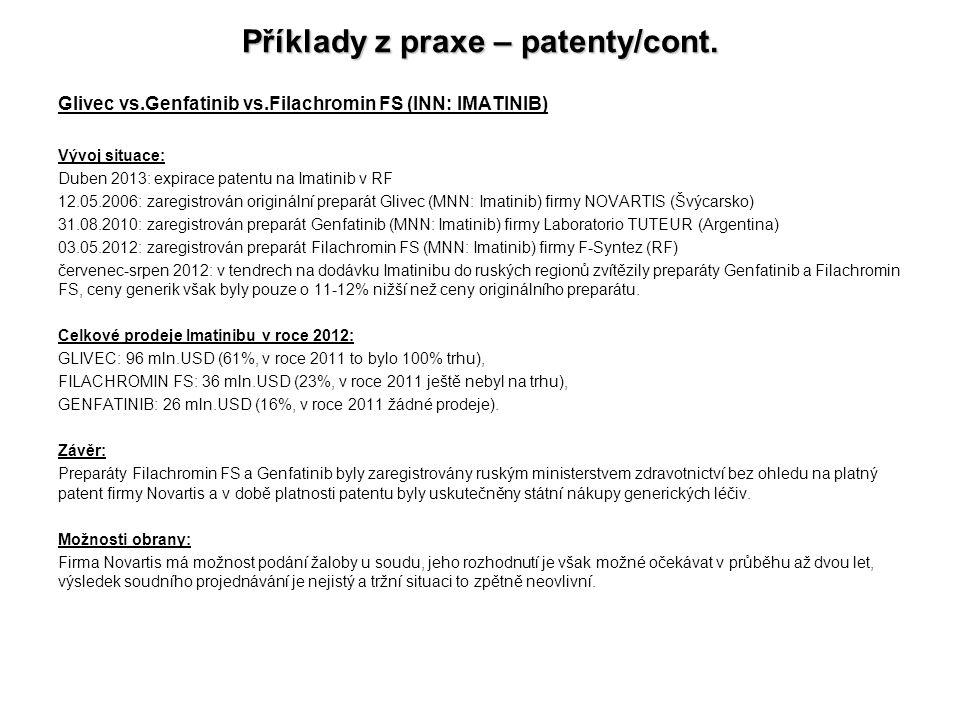 Příklady z praxe – patenty/cont.