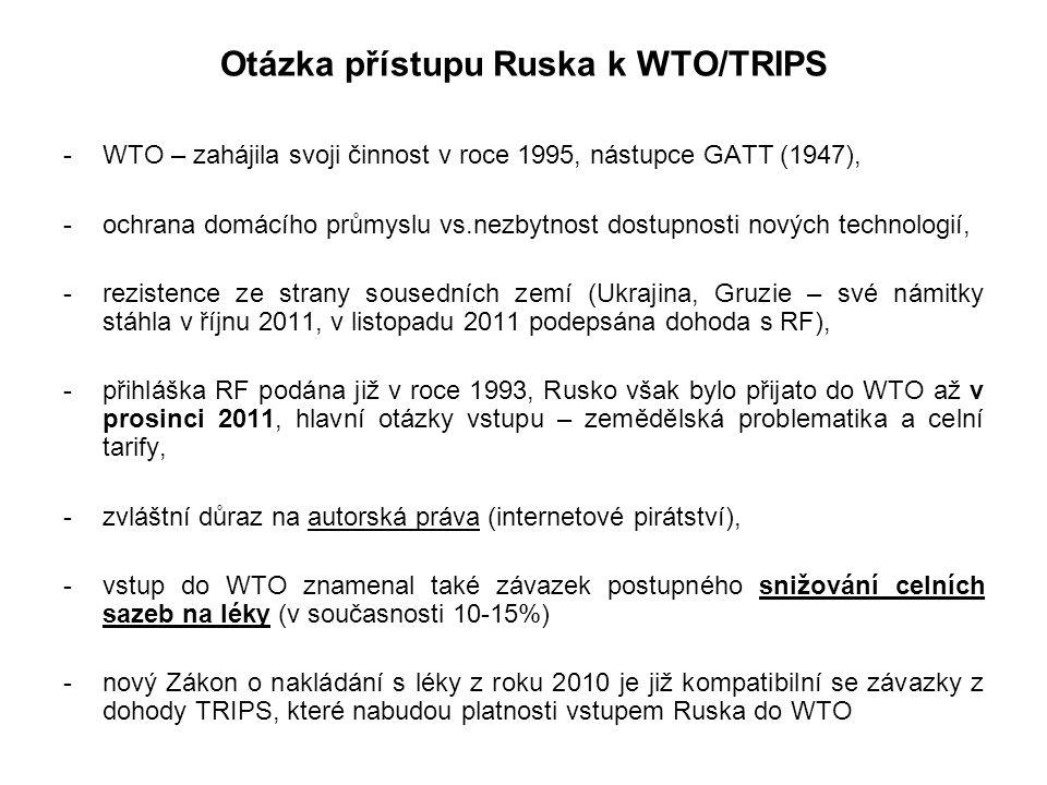 Otázka přístupu Ruska k WTO/TRIPS