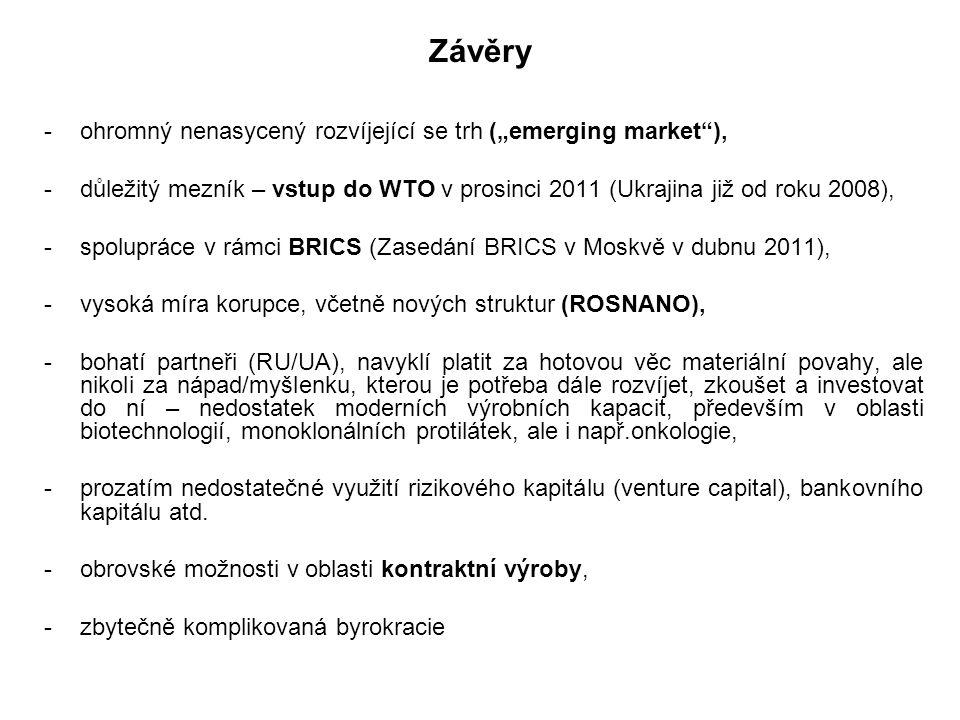 """Závěry ohromný nenasycený rozvíjející se trh (""""emerging market ),"""
