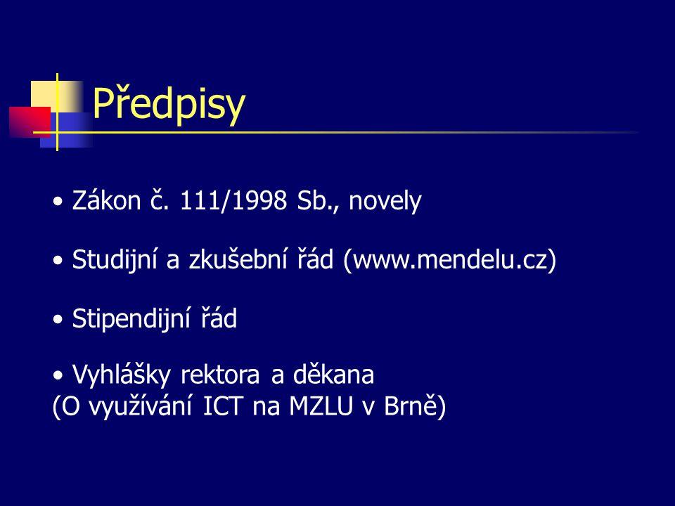 Předpisy Zákon č. 111/1998 Sb., novely