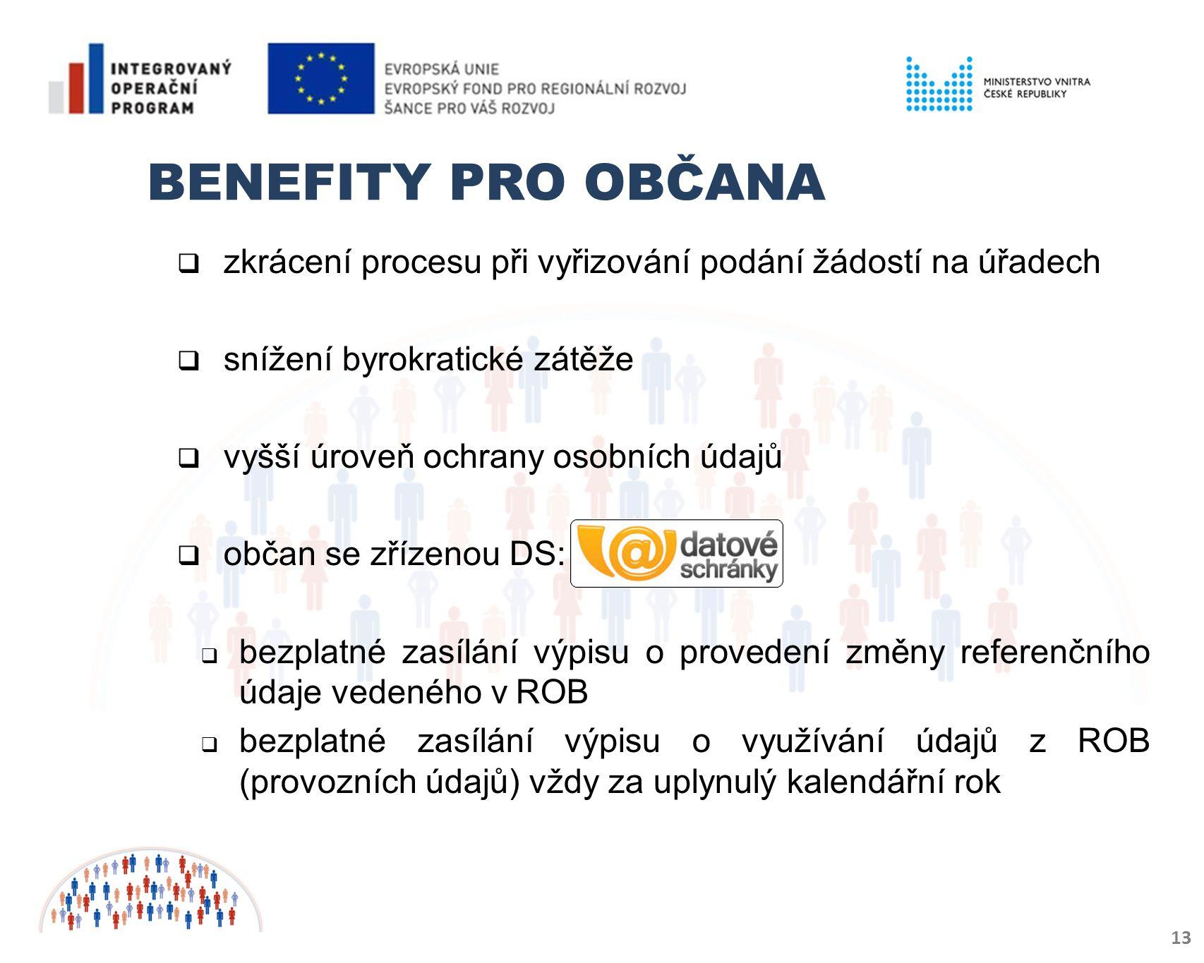 Benefity pro občana zkrácení procesu při vyřizování podání žádostí na úřadech. snížení byrokratické zátěže.