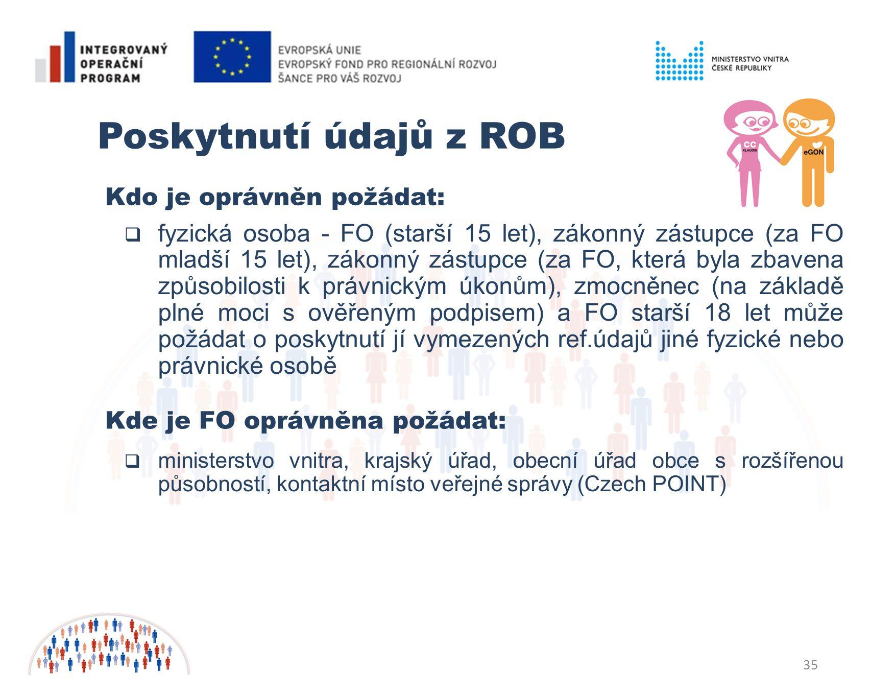Poskytnutí údajů z ROB Kdo je oprávněn požádat: