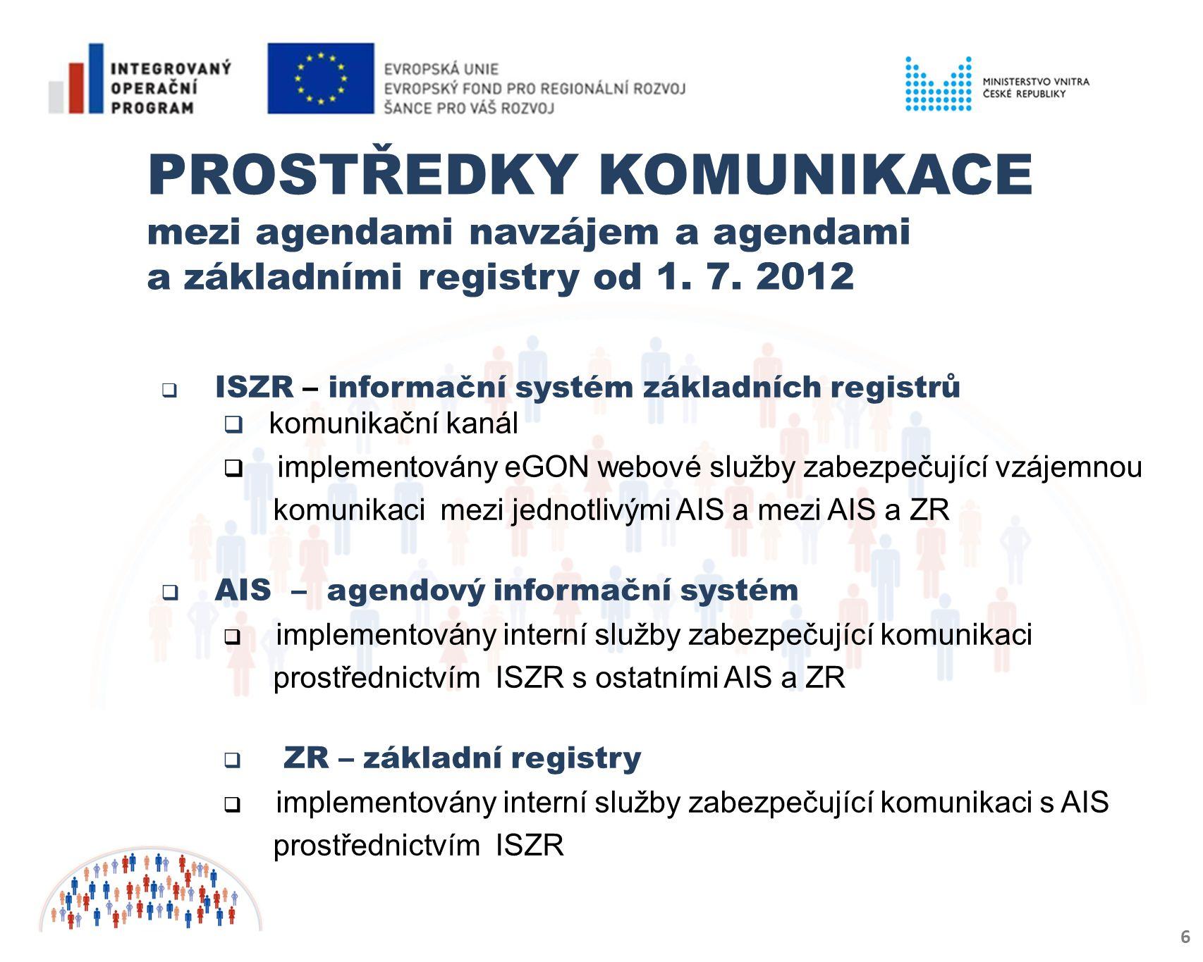 PROSTŘEDKY KOMUNIKACE mezi agendami navzájem a agendami a základními registry od 1. 7. 2012