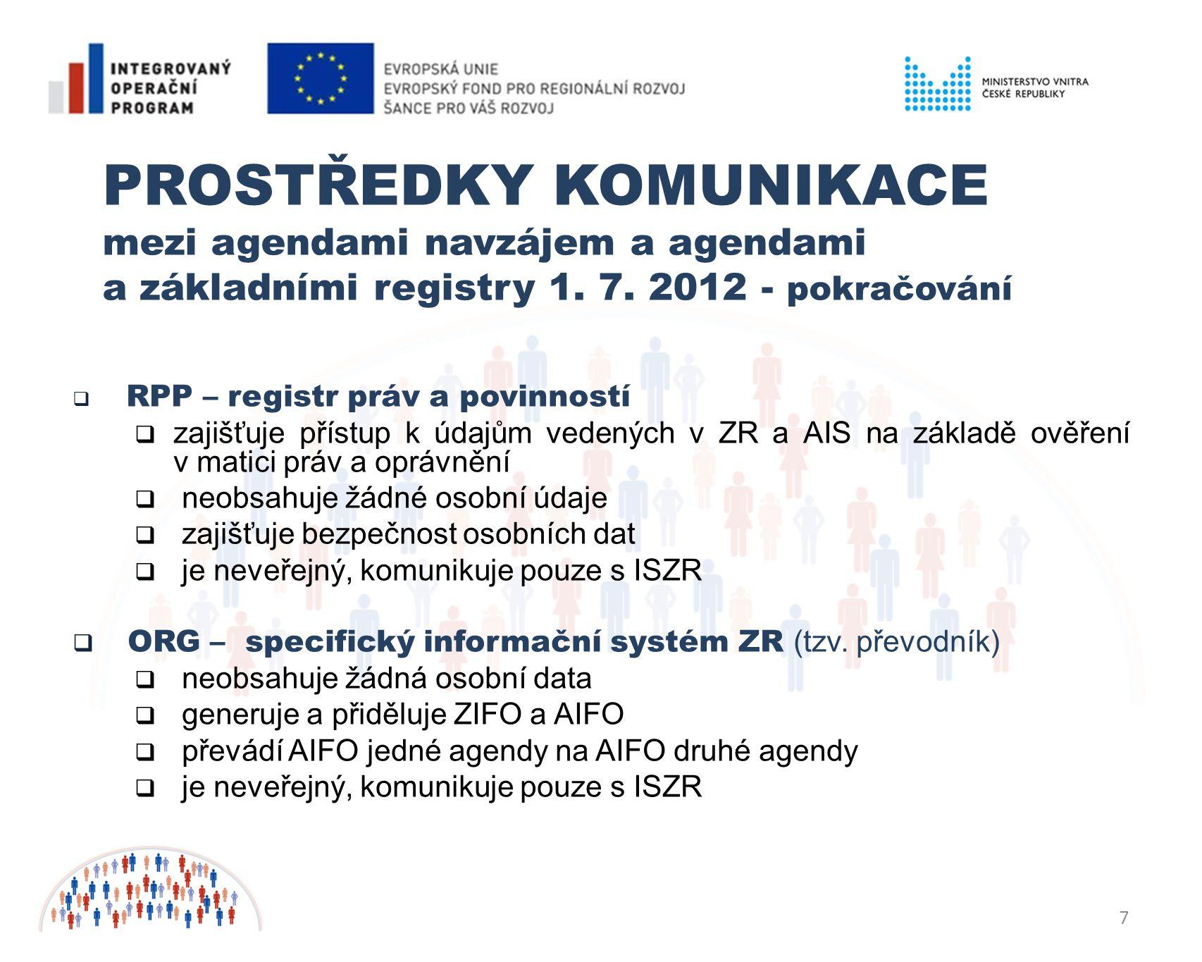 PROSTŘEDKY KOMUNIKACE mezi agendami navzájem a agendami a základními registry 1. 7. 2012 - pokračování