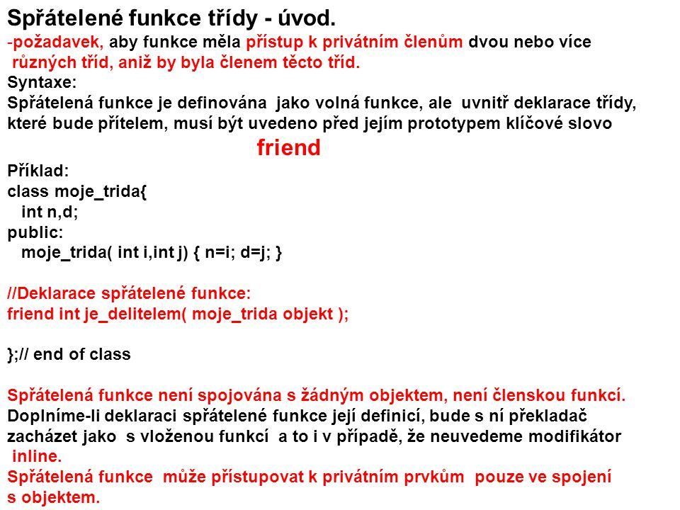 Spřátelené funkce třídy - úvod.