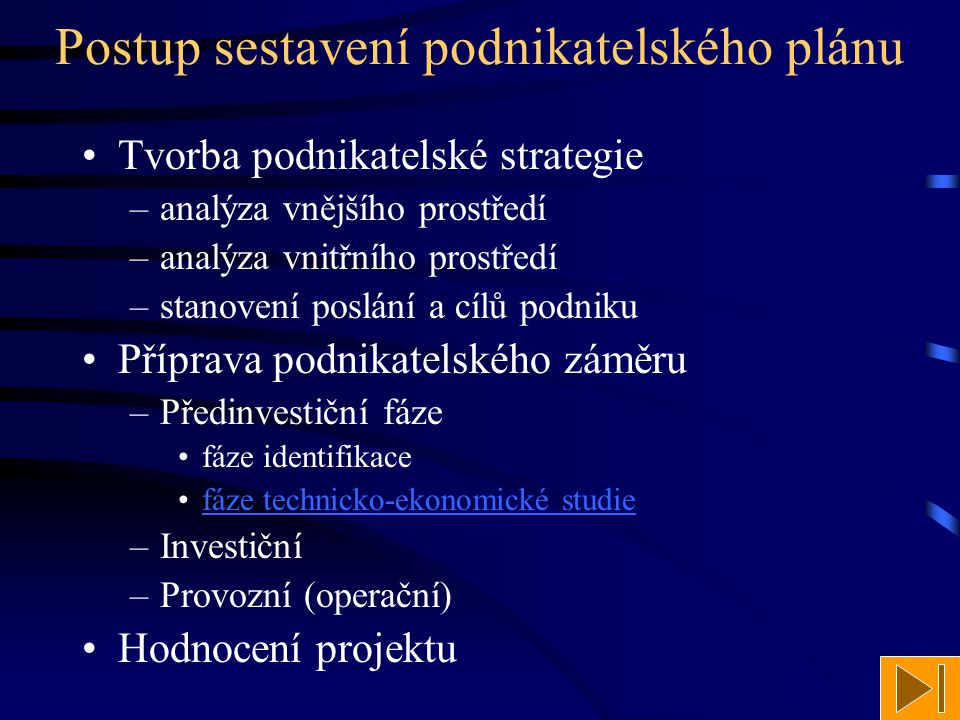 Postup sestavení podnikatelského plánu