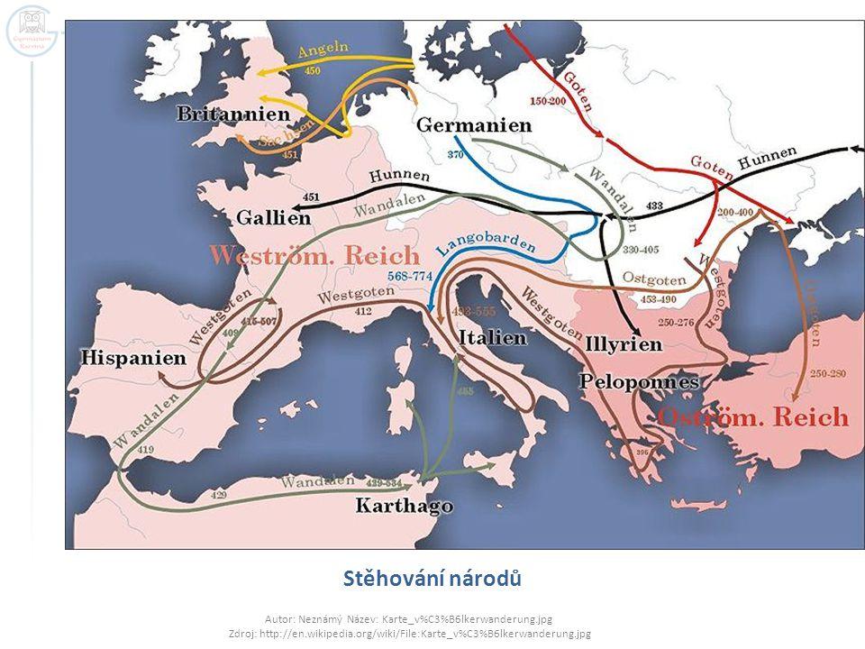 Stěhování národů Autor: Neznámý Název: Karte_v%C3%B6lkerwanderung.jpg Zdroj: http://en.wikipedia.org/wiki/File:Karte_v%C3%B6lkerwanderung.jpg.