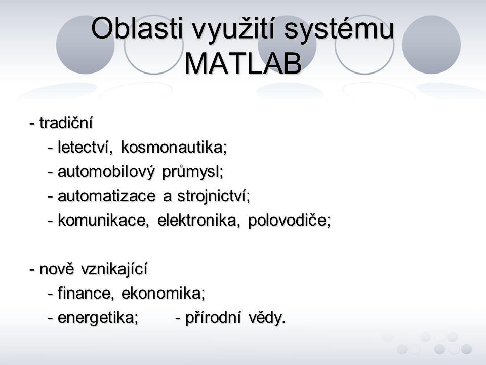 Oblasti využití systému MATLAB
