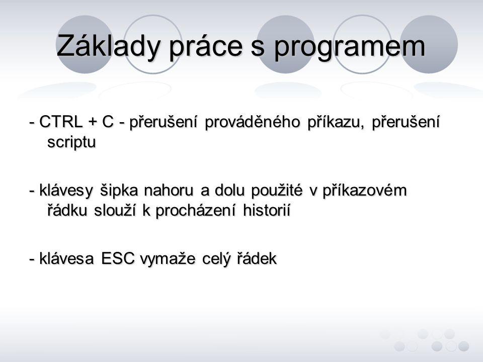 Základy práce s programem