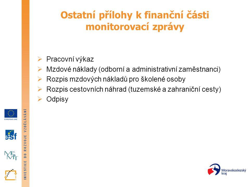 Ostatní přílohy k finanční části monitorovací zprávy