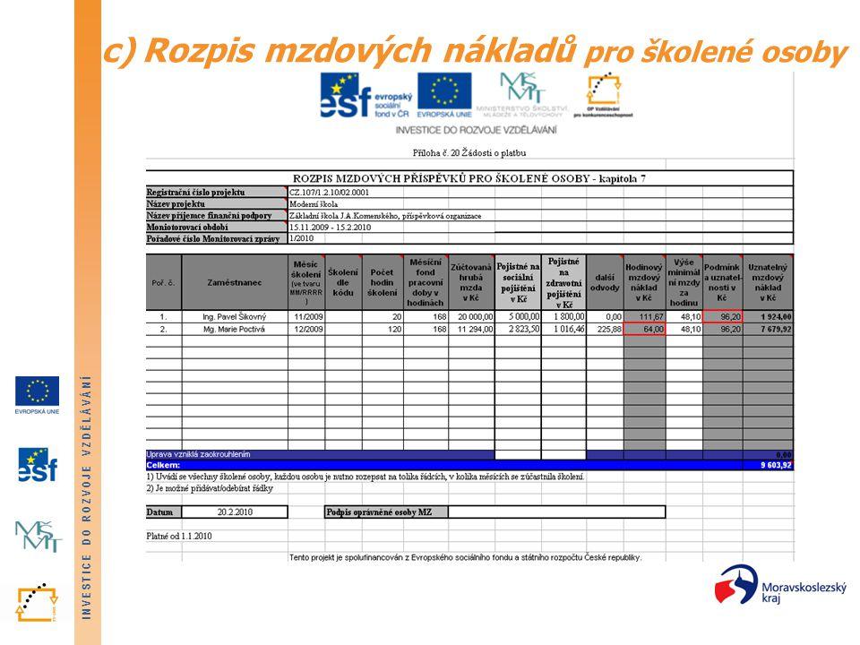 c) Rozpis mzdových nákladů pro školené osoby