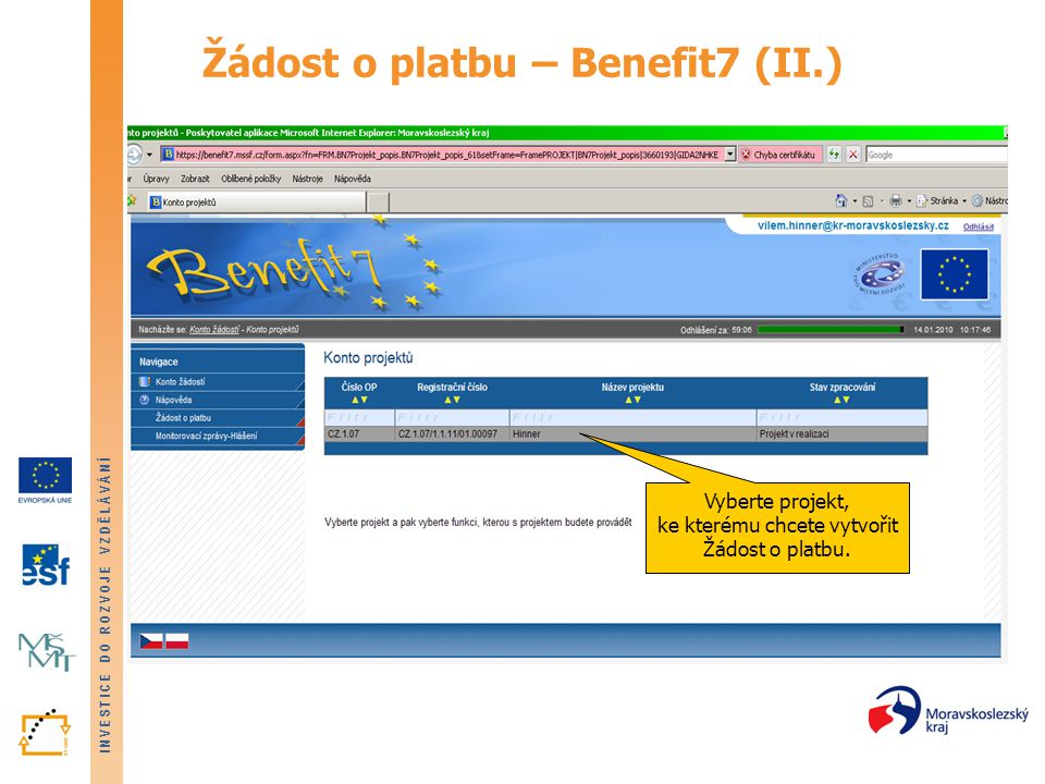 Žádost o platbu – Benefit7 (II.)