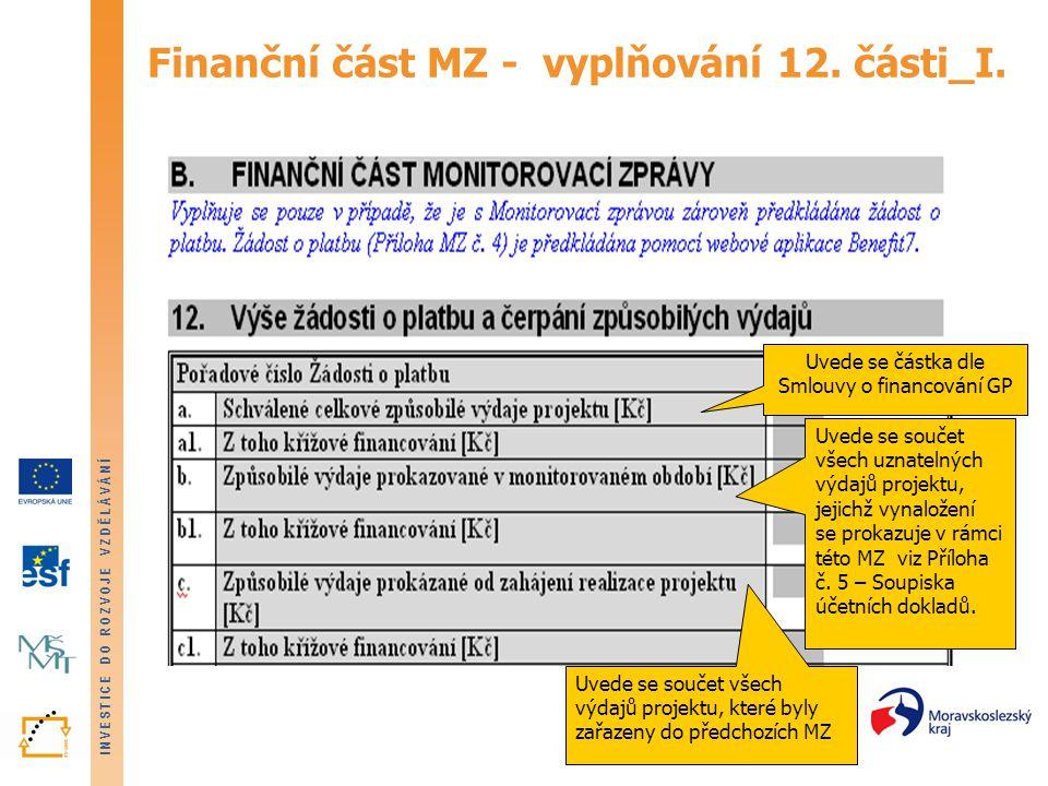 Finanční část MZ - vyplňování 12. části_I.