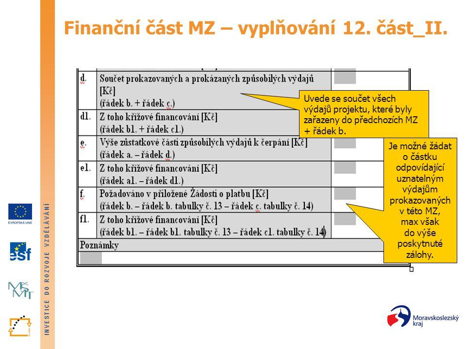 Finanční část MZ – vyplňování 12. část_II.